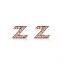 【闪电】 玫瑰18K金时尚钻石女款耳钉耳环