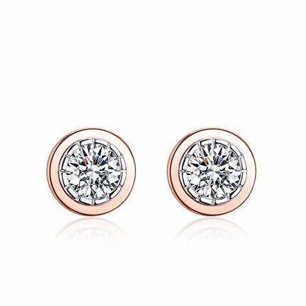 【时光里的爱】 18k彩金时尚钻石耳钉耳环