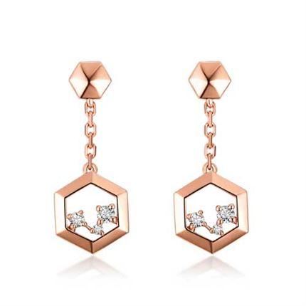 【巢】系列 玫瑰18K金钻石耳环耳钉女款耳饰