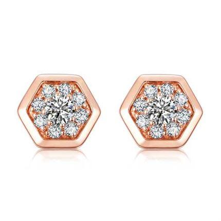 【蜂巢】系列 玫瑰18K金 共14分女士钻石耳钉