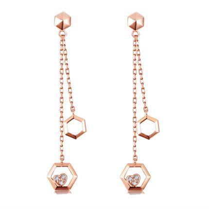 【巢】系列 玫瑰18K金钻石耳环长款女款耳饰耳坠