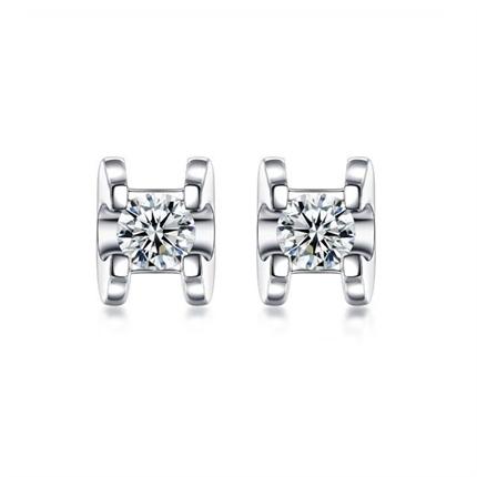 【挚爱】 白18k金时尚钻石耳钉