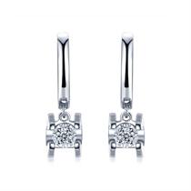 【车花】 白18K金钻石女士耳环