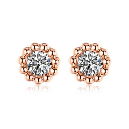 【向日葵】 玫瑰18K金新款花形钻石耳钉