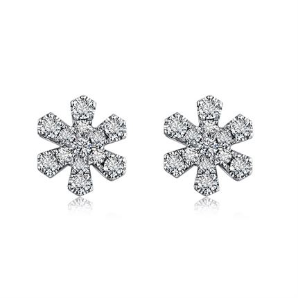 【初雪】系列 18k金时髦群镶钻钻石耳钉