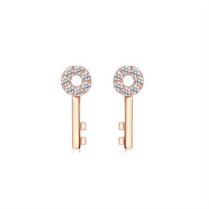 【獨家印記-鑰匙】 玫瑰18K金鉆石耳釘