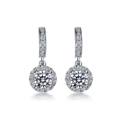 【永恒摩天轮】 白18K金女款钻石耳环钻石耳坠