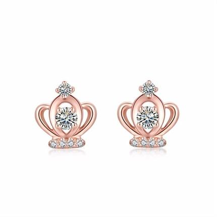 【皇冠】 玫瑰18K金钻石耳钉