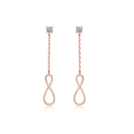 【ENDLESS无限符号】 玫瑰18K金符号钻石耳坠