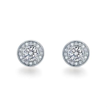 【摩天轮】 白18K金时尚女款钻石耳钉