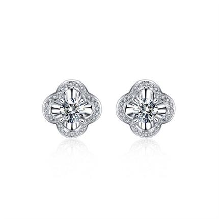 【四叶草】 白18k金时尚群镶女士钻石耳钉