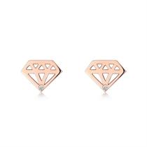 【闪耀】 玫瑰18K金时尚钻石耳钉