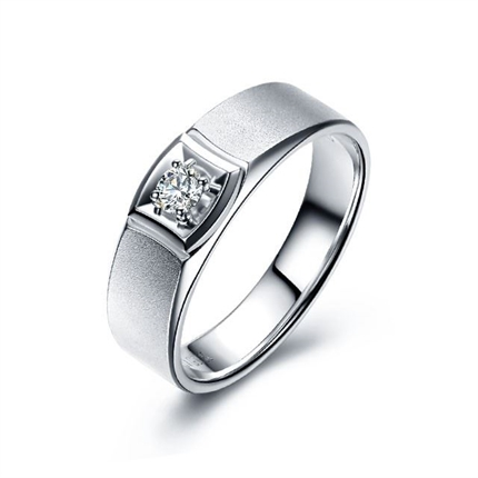 【灵动】 白18k金结婚戒指男士钻戒