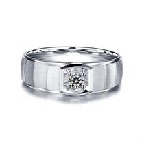【非凡】 白18K金15分/0.15克拉钻石时尚男士戒指