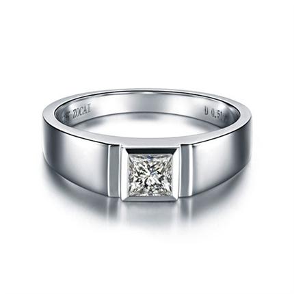 【雅致】 白18K金30分鉆石男士戒指