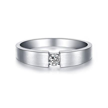 【情扣】 白18k金钻石结婚对戒12分钻石女戒