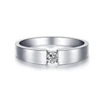 【情扣】 白18k金钻石结婚对戒14分钻石男戒
