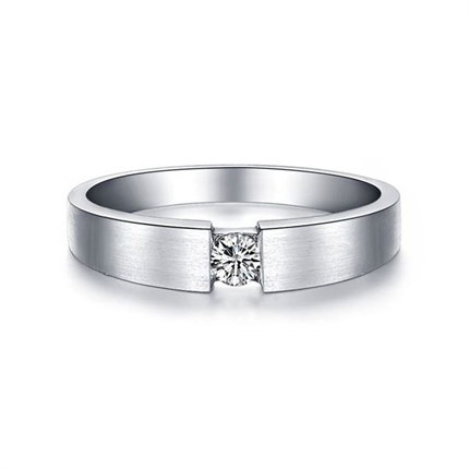 【情扣】 白18k金鉆石結婚對戒14分鉆石男戒