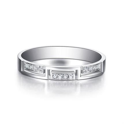 【相扣】 白18k金钻石情侣对戒女士765ame爆大奖