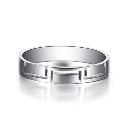 【相扣】  白18k金鉆石情侶對戒男士鉆戒
