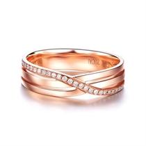 【封存】 18k玫瑰金时尚结婚钻石对戒女士戒指