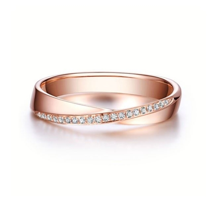 【相遇】 18k玫瑰金钻石情侣对戒女士戒指