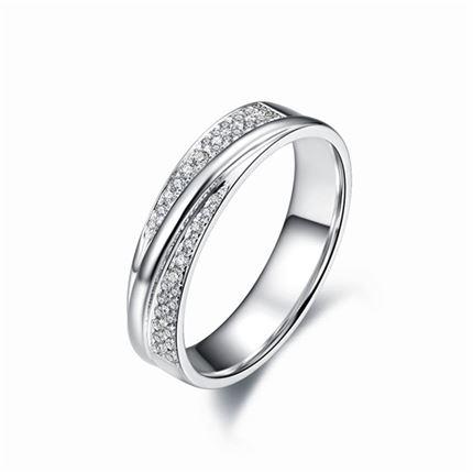 【闪耀之爱】 白18K金男士戒指