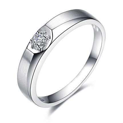 【勿忘初心】 白18K金钻石男士戒指