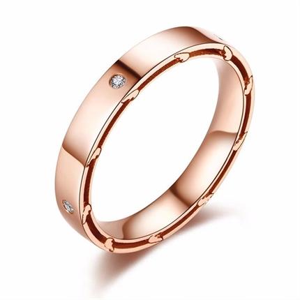 【羽系列】 玫瑰金女士戒指