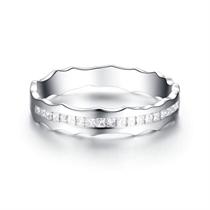【相随】 白18k金浪漫情侣钻石对戒女士戒指
