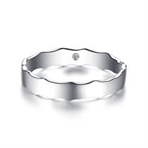 【相随】  白18k金浪漫情侣钻石对戒男士戒指