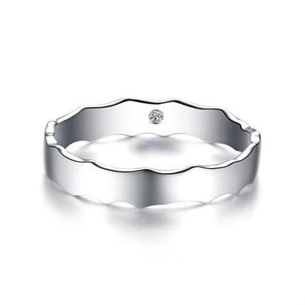 【相隨】  白18k金浪漫情侶鉆石對戒男士戒指