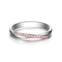 【相守】 18k金双色时尚结婚钻石对戒女士戒指