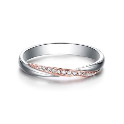 【相守】 18k金雙色時尚結婚鉆石對戒女士戒指