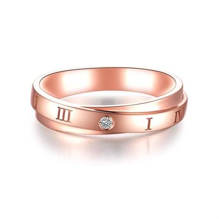 【时光】 18K玫瑰金时尚钻石情侣对戒男士戒指
