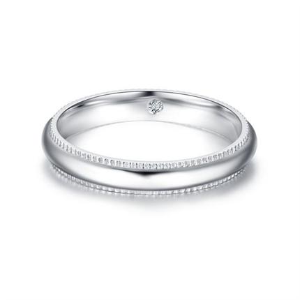 【唯一】 白18k金钻石情侣对戒男士戒指