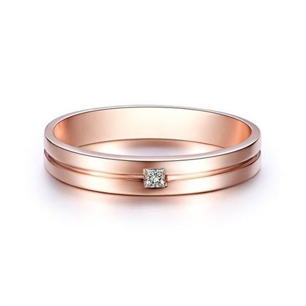 【一生一石】 玫瑰金情侣钻石对戒男士钻戒