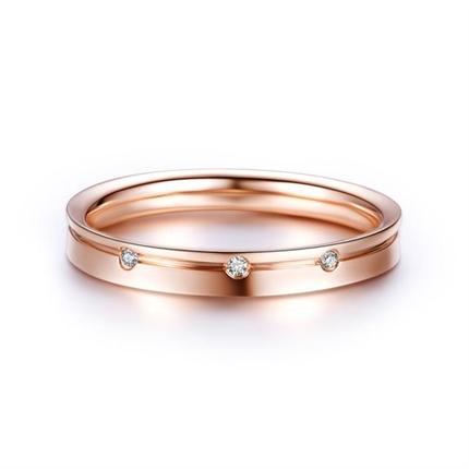 【三生三世】 18k玫瑰金结婚订婚钻石对戒女士戒指