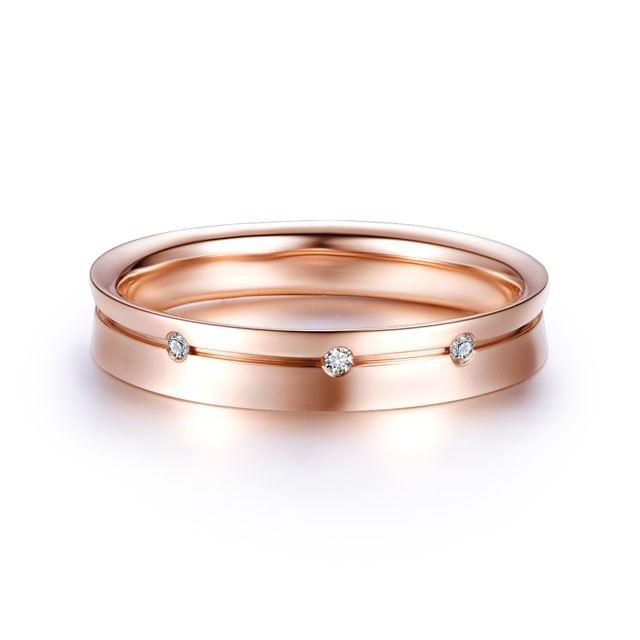 【三生三世】  18k玫瑰金結婚訂婚鉆石對戒男士戒指