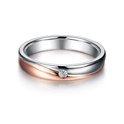 【相伴】 18k双色金结婚钻石对戒男士戒指