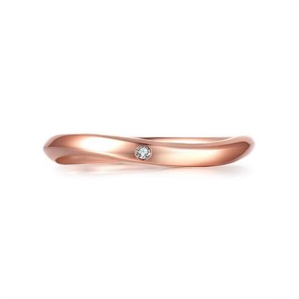 【旋律】 18K玫瑰金简约情侣钻石对戒女士戒指
