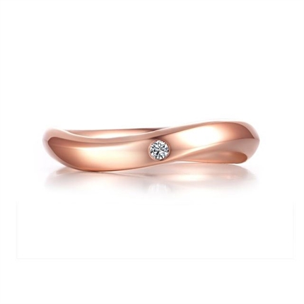 【旋律】 18K玫瑰金简约情侣钻石对戒男士戒指
