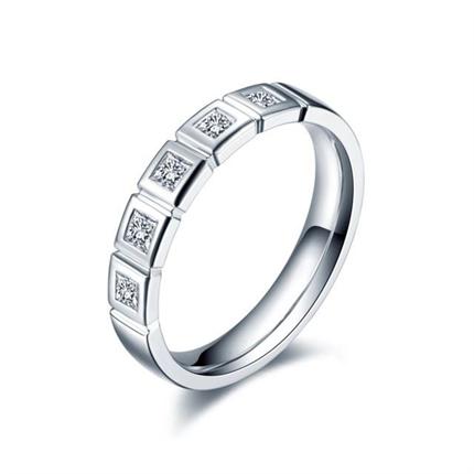 【恒久】 白18k金结婚订婚钻石对戒女士戒指