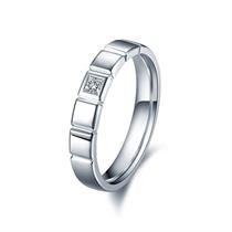 【恒久】   白18k金结婚订婚钻石对戒男士戒指