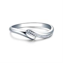 【邂逅】 白18k金钻石结婚对戒女士戒指
