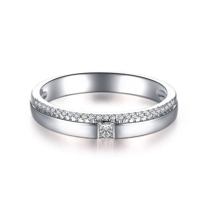 【唯一爱】 白18k金结婚订婚钻石对戒女士戒指