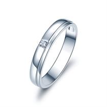 【唯一爱】 白18k金结婚订婚钻石对戒男士戒指