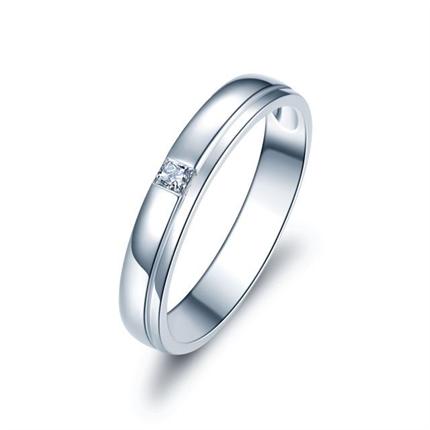 【唯一愛】 白18k金結婚訂婚鉆石對戒男士戒指