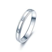 【情定三生】 白18k金钻石情侣对戒女士戒指