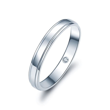【情定三生】  白18k金鉆石情侶對戒男士戒指